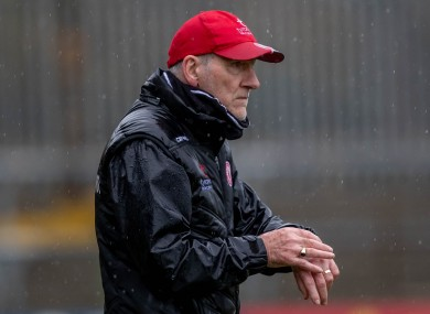 Mickey Harte pictured during Tyrone's recent Ulster Championship quarter-final defeat to Donegal.