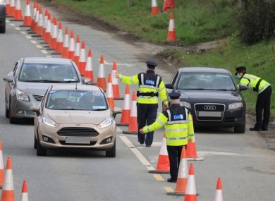 Gardaí at a checkpoint on the N7 between Dublin and Kildare
