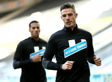 Ciaran Clark pictured warming up prior to today's game.
