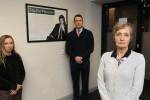 Katherine (left), John and Geraldine Finucane in Belfast today.
