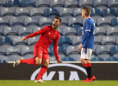 Pizzi celebrates after equalising for Benfica.