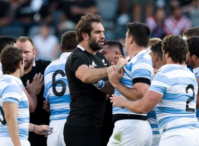Tempers flare during the recent Tri Nations game between New Zealand and Argentina.