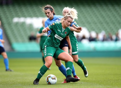 Saoirse Noonan in possession for Cork City during the 2017 FAI Cup final. The Leesiders are back in the final this year thanks to her brace against Treaty United on Sunday.