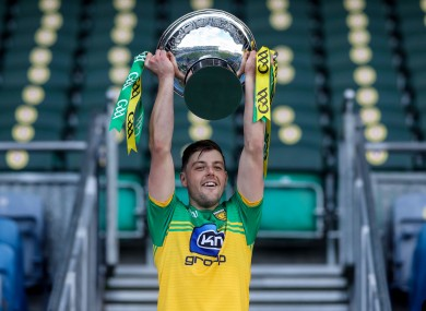 Sean McVeigh lifts the Nicky Rackard Cup for Donegal.