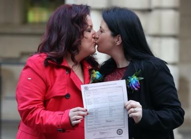 Cara McCann and Amanda McGurk on the steps of Belfast City Hall