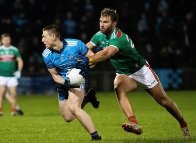 Mayo's Aidan O'Shea and Dublin's John Small during their 2020 league meeting.