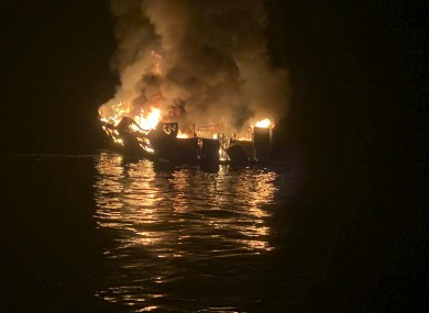 The dive boat engulfed in flames after a deadly fire broke out aboard (file photo)