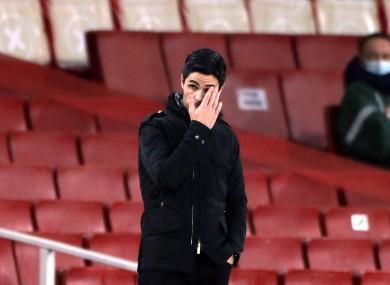 Arteta at the Emirates Stadium last night.