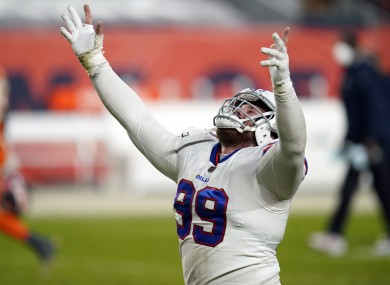 Buffalo Bills defensive tackle Harrison Phillips reacts after they defeated the Denver Broncos.