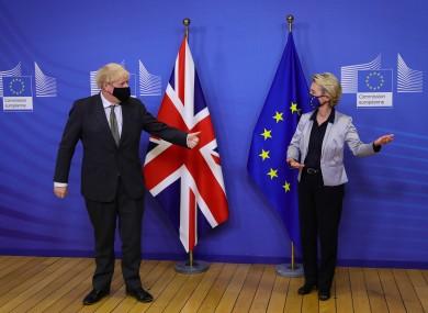 British Prime Minister Boris Johnson with European Commission president Ursula von der Leyen