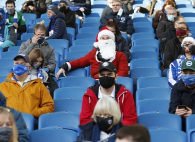 Socially-distant fans at the Amex at the weekend.