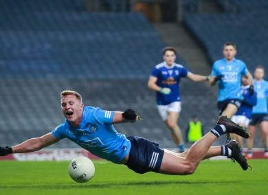 Dublin's Ciarán Kilkenny falls after being fouled.