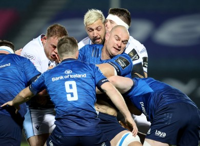 Captain Rhys Ruddock and Luke McGrath in action against Cardiff last month.