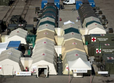 An assembled field hospital, in Cosenza, Italy last week.