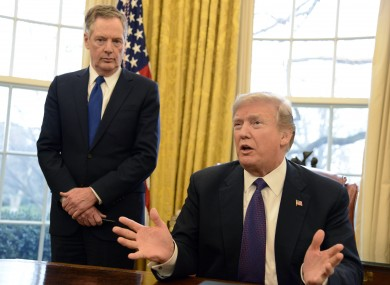 US trade representative Robert Lighthizer and president Donald Trump in the White House in 2018.