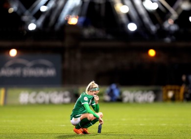Ireland's Denise O'Sullivan dejected after the game.