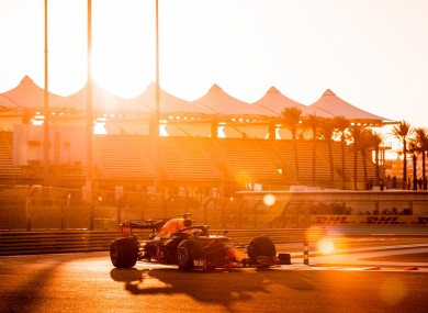 Race to the sun: F1 practice in Abu Dhabi today.