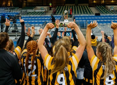 Kilkenny players celebrate their camogie All-Ireland title win on Saturday.