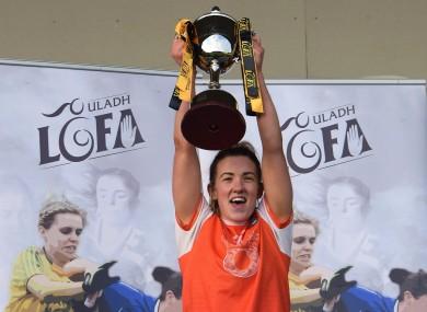 Armagh captain Kelly Mallon lifting the silverware.