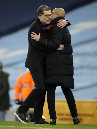 Slaven Bilic and Pep Guardiola after the game.