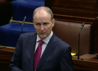Taoiseach Micheál Martin in the Dáil today.