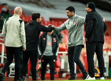 Mikel Arteta with Filippo Giovagnoli after the 3-0 Arsenal win at the Emirates on Matchday 2.