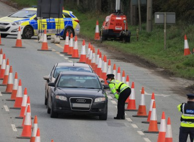 Gardaí carrying out a checkpoint in October