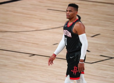 On the move: Russell Westbrook.