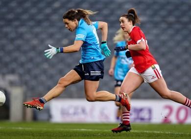 Dublin's Noelle Healy has a shot on goal.