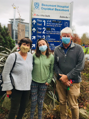 Sally with her parents Sabina and Ken the day she was released from hospital after her recent transplant surgery.