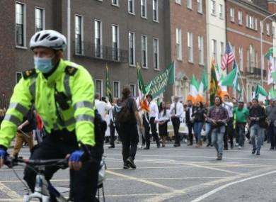 An anti-lockdown demonstrations in Dublin.
