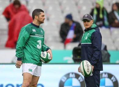 Rob Kearney with Ireland head coach Joe Schmidt in 2016.