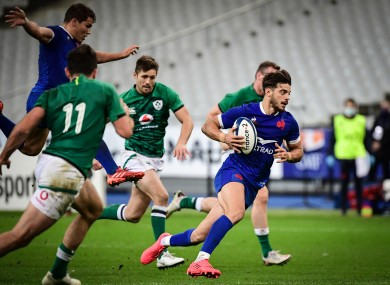 Romain Ntamack makes a break for France against Ireland last October.