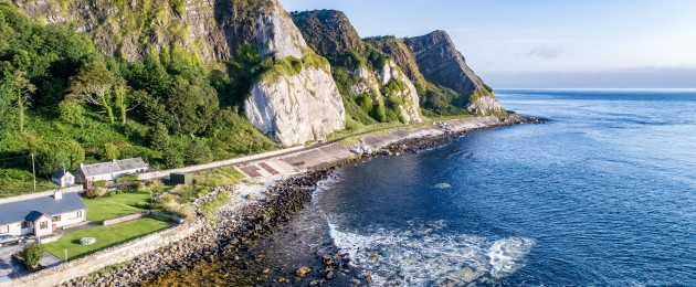 The eastern coast of Northern Ireland and cliffs on the Antrim Coastal Road.