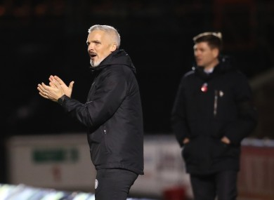 St Mirren manager Jim Goodwin gestures on the touchline.