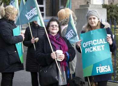 Supporters of Section 39 workers on strike outside NCBI Drumcondra in February this year.