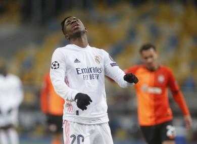 Vinicius Junior reacts during Madrid's defeat in Kiev.