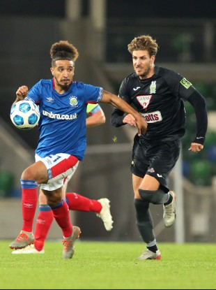 Bastien Hery (left) pictured during Linfield's Europa League clash with Floriana last year.