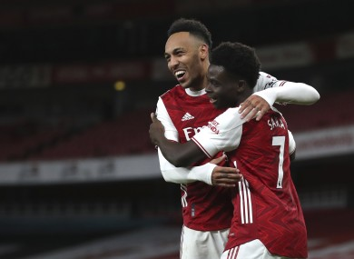 Pierre-Emerick Aubameyang and Bukayo Saka both hit the net against the struggling Magpies.