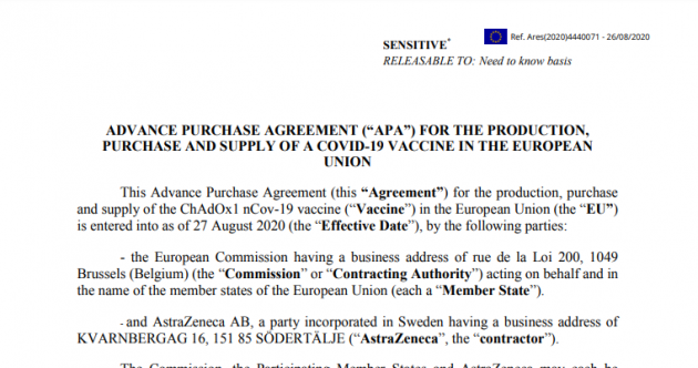 Amid a deepening row, the [heavily redacted] EU-AstraZeneca contract has been published