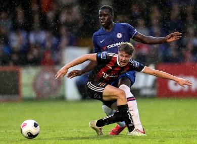 Ferguson battles with Chelsea's Kurt Zouma in a pre-season friendly in July 2019.