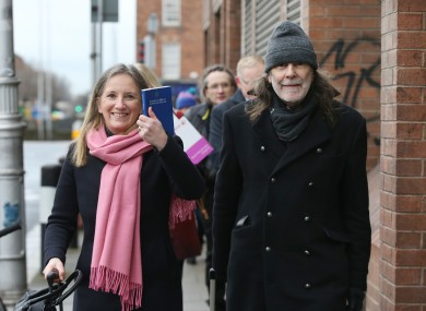 Gemma O'Doherty and John Waters arriving at the Four Courts in Dublin today