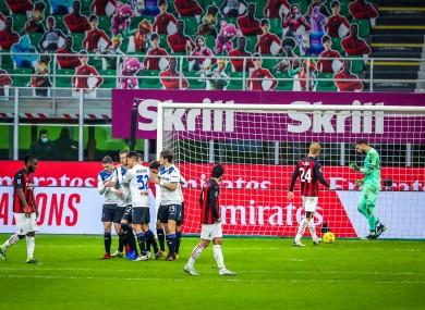 Atalanta players celebrate Josip Ilicic's goal.