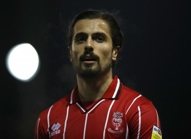 Zack Elbouzedi pictured during Lincoln City's win against Accrington Stanley on Tuesday night.