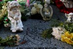 Flowers and figurines at the memorial to 222 children from the Bethany Mother and Child Home, at Mount Jerome Cemetery, Harold's Cross, Dublin.
