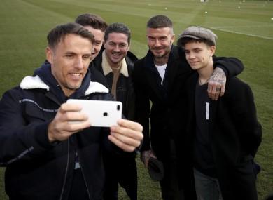 Neville takes a selfie with (left-right) Harvey Neville, Dave Gardner, David Beckham and Romeo Beckham in 2019.