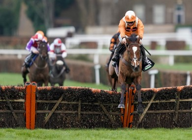 Metier ridden by Sean Bowen (right) clear the last to win The Unibet Tolworth Novices' Hurdle at Sandown Park.