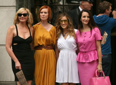 Kim Cattrall, Cynthia Nixon, Sarah Jessica Parker and Kristin Davis on the set of Sex and the City 2