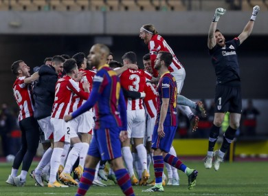Bilbao celebrate after the final whistle.