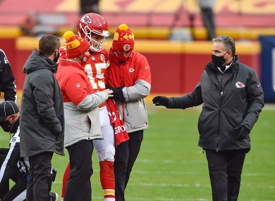 Patrick Mahomes being helped off the field during the Chiefs' victory over the Cleveland Browns.
